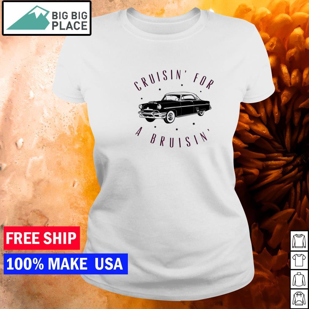 Cruisin' for a Bruisin' black car s ladies tee