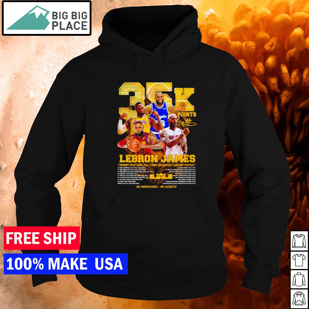 Los Angeles Lakers Lebron James 3rd NBA all-time scoring leader signature s hoodie
