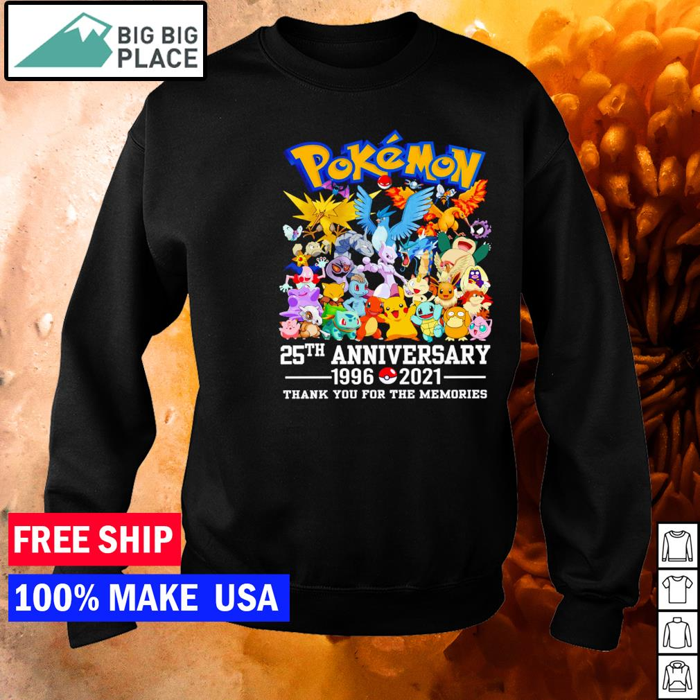 Pokemon 25th anniversary 1996 2021 thank you for the memories s sweater