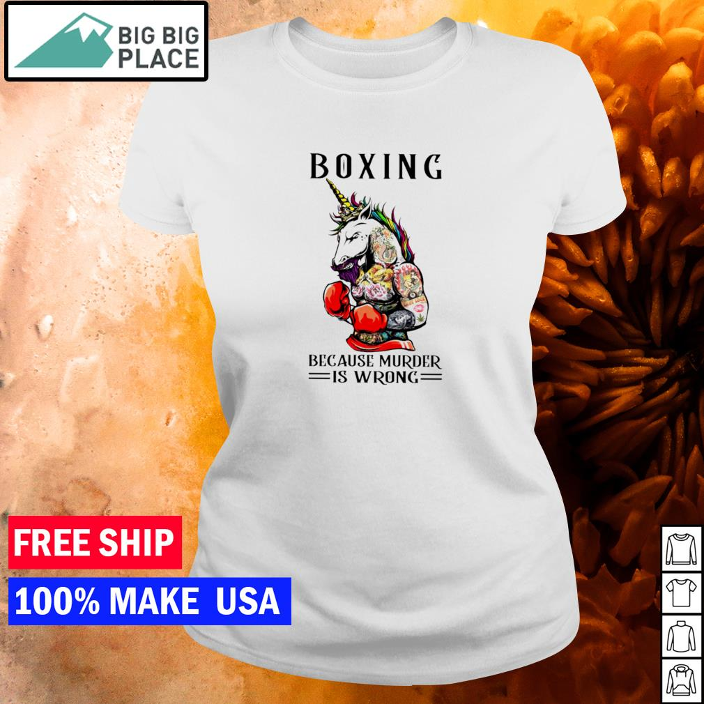 Tattoos unicorn boxing because murder is wrong s ladies tee