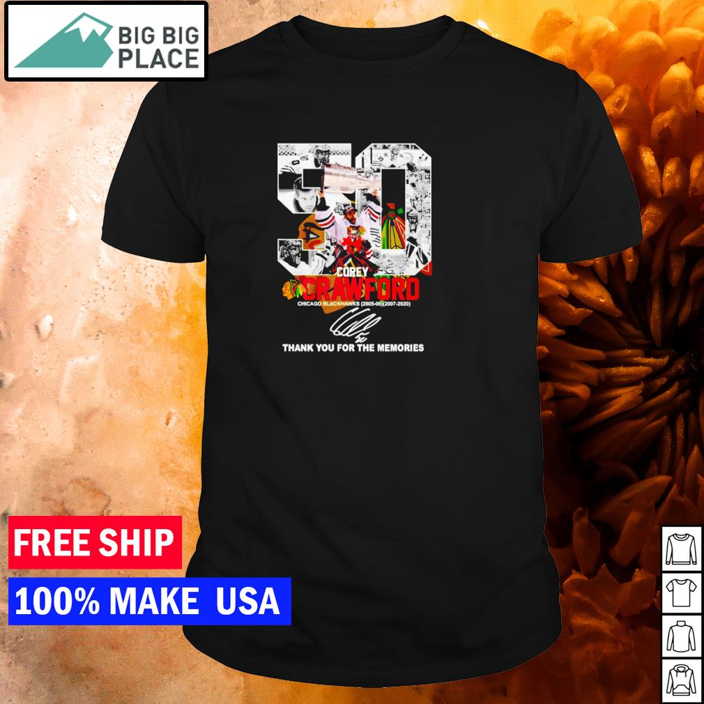Corey Crawford Chicago Blackhawks number 50 thank you for the memories signature shirt