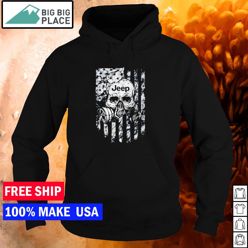 Skull wearing gas mask Jeep American Flag s hoodie