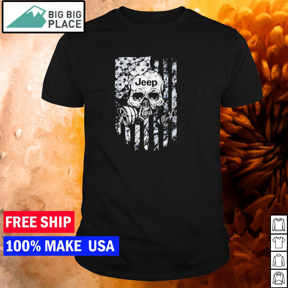 Skull wearing gas mask Jeep American Flag shirt