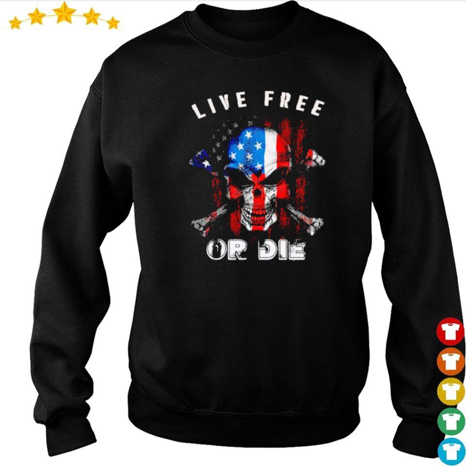 American Flag skull live free or die s sweater
