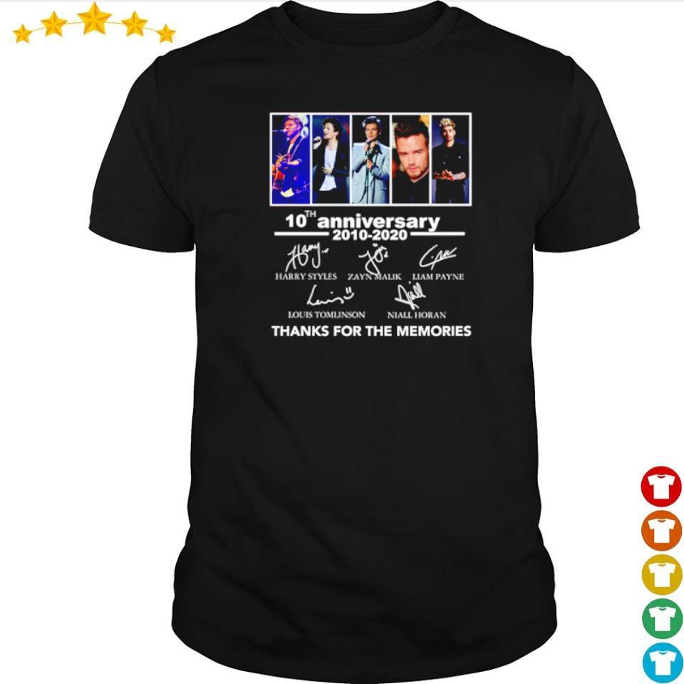 10th anniversary of One Direction thanks for the memories shirt
