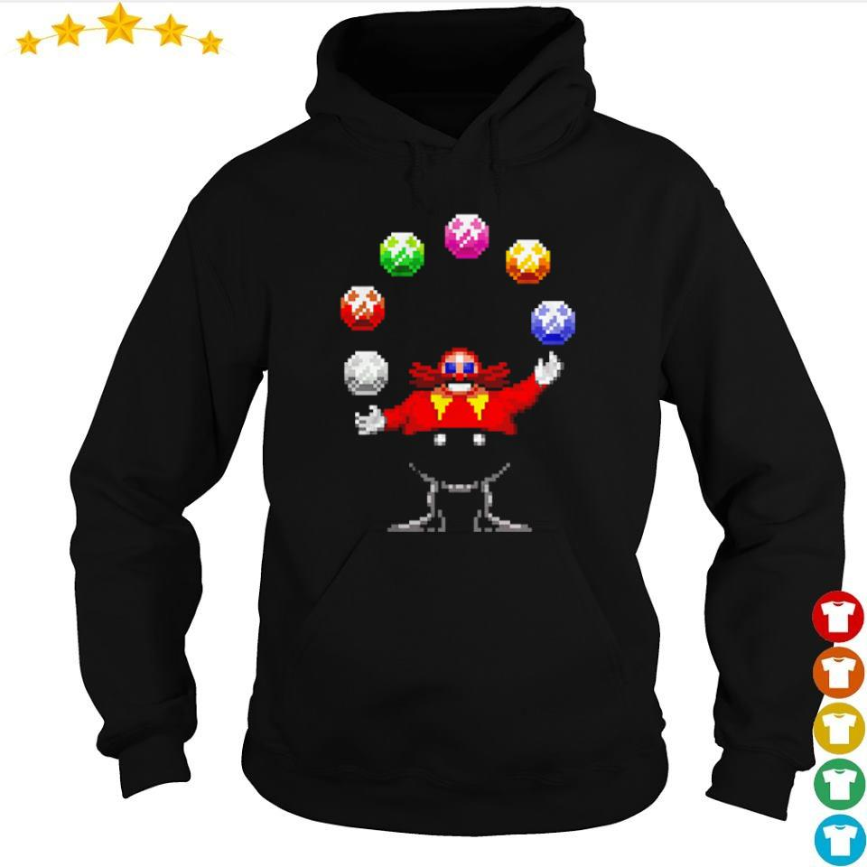 Dr. Eggman juggling the Chaos Emeralds s hoodie