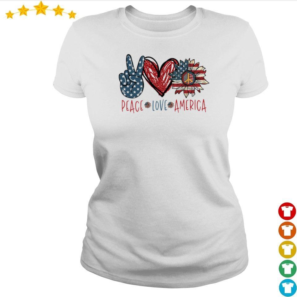 Peace love America Flag Sunflower s ladies