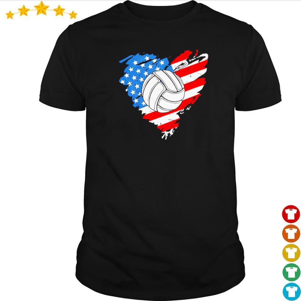 American Flag heart volleyball shirt