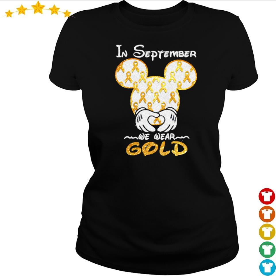 Autism Awareness Mickey Mouse in september we wear gold s ladies tee