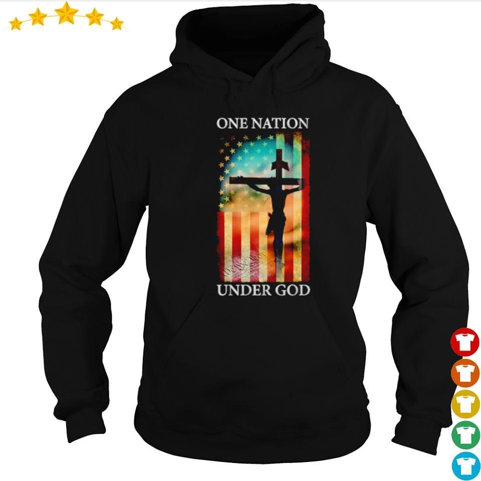 Jesus cross American Flag one nation under God s hoodie