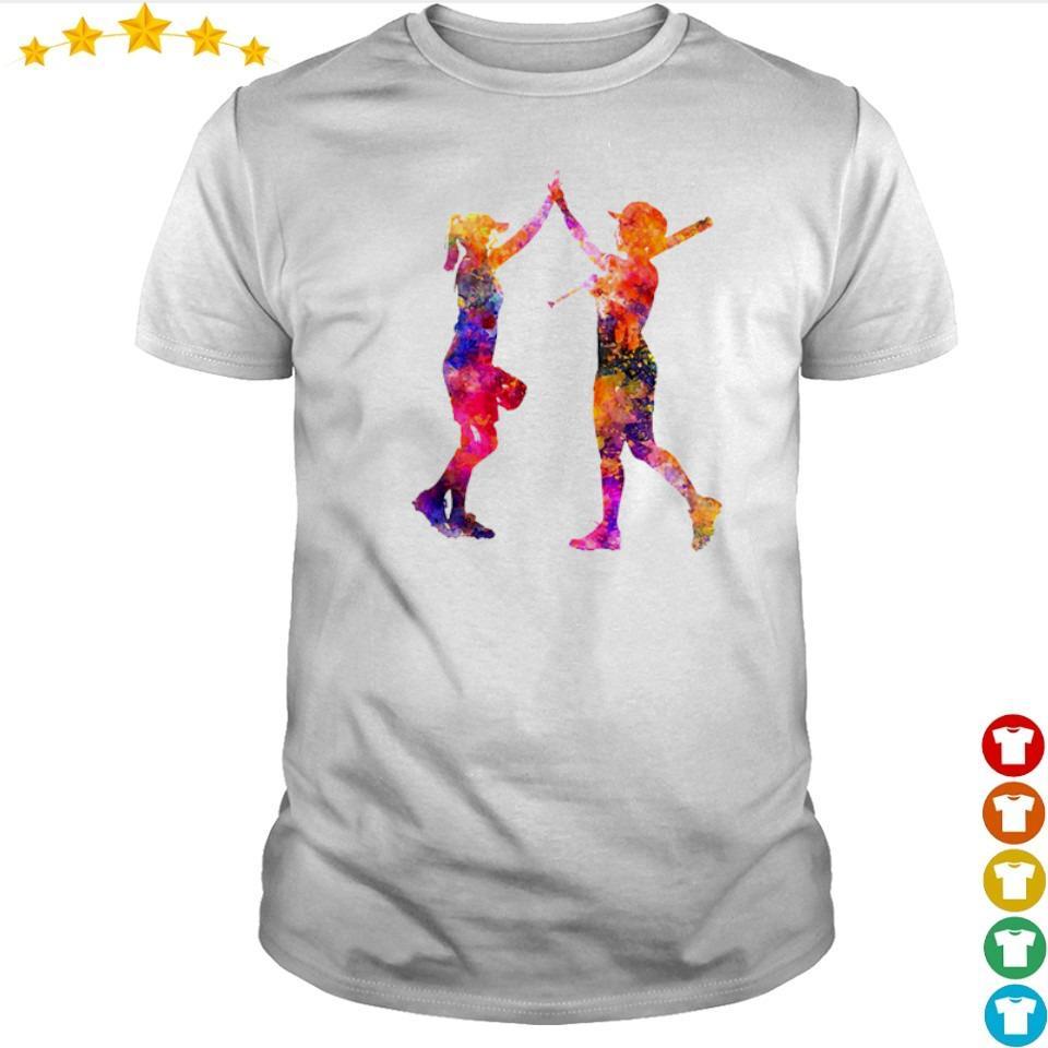 Softball bestie playing colorful shirt