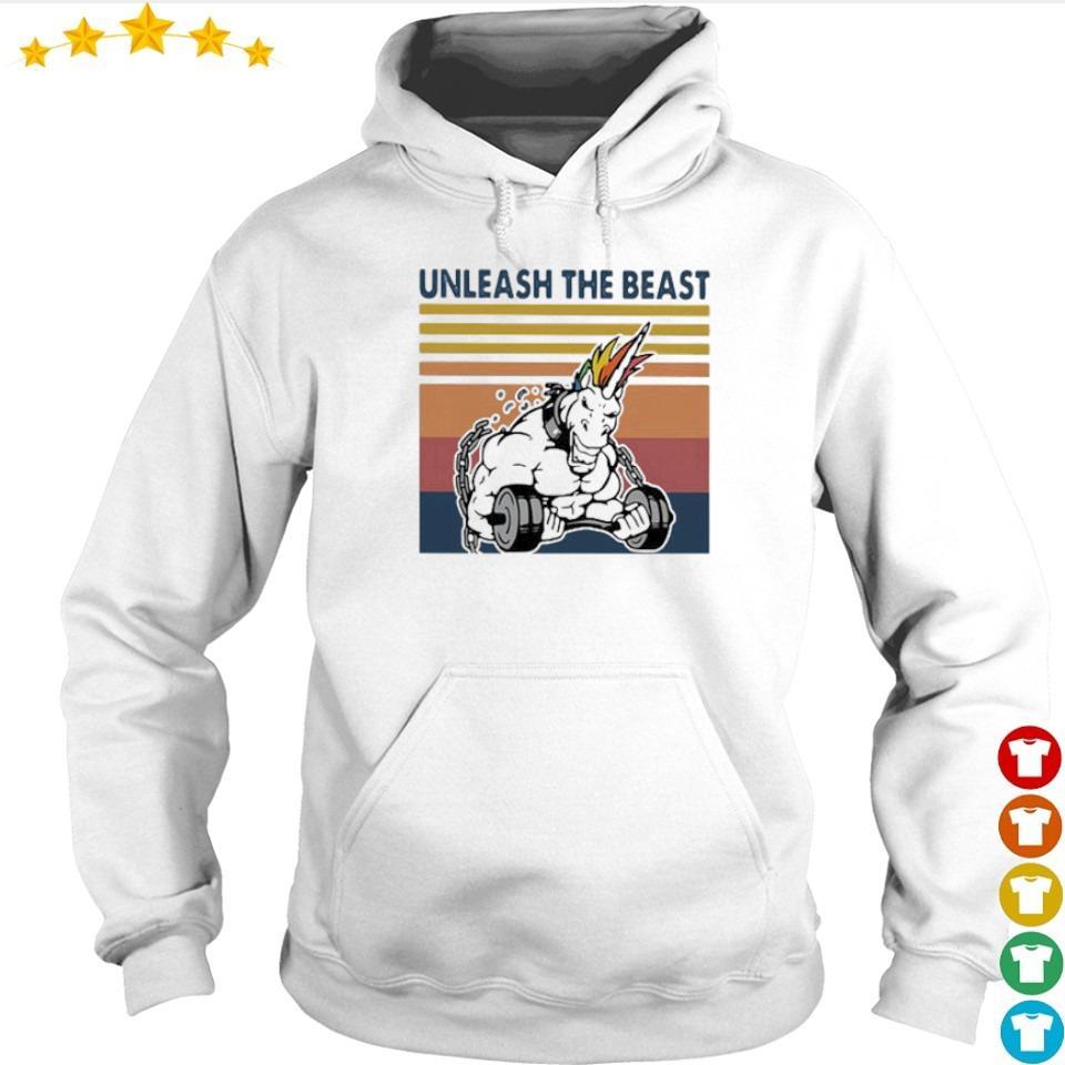 Unicorn unleash the beast fitness vintage s hoodie