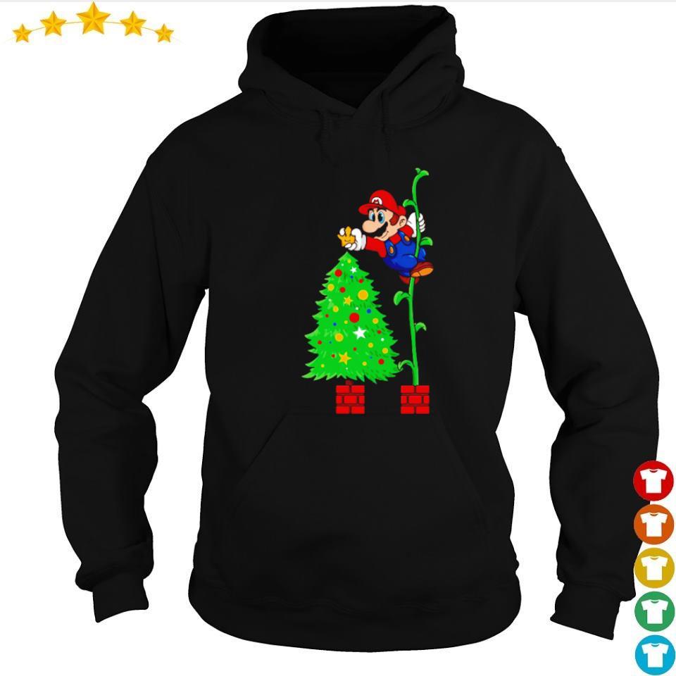 Awesome Mario and Christmas tree s hoodie