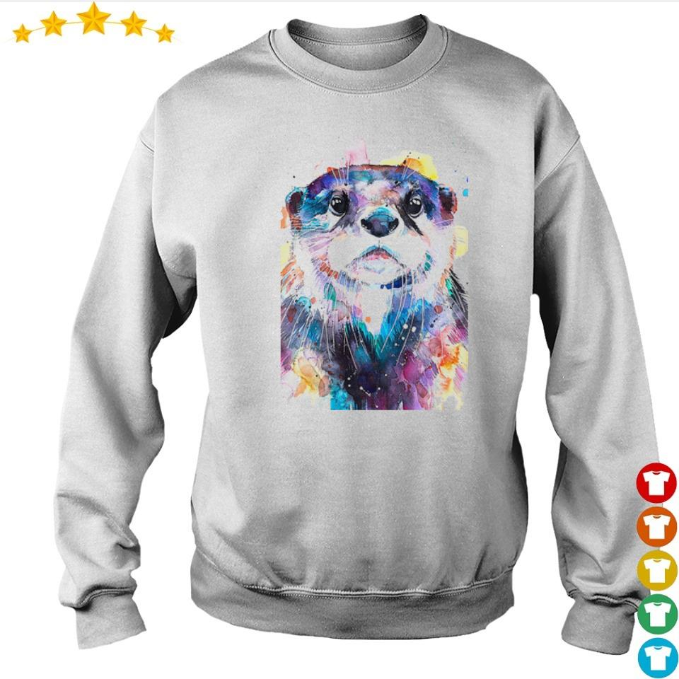 Awesome otter watercolor art s sweater