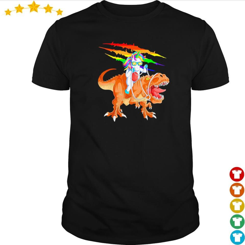 Awesome unicorn riding t rex dinosaur shirt