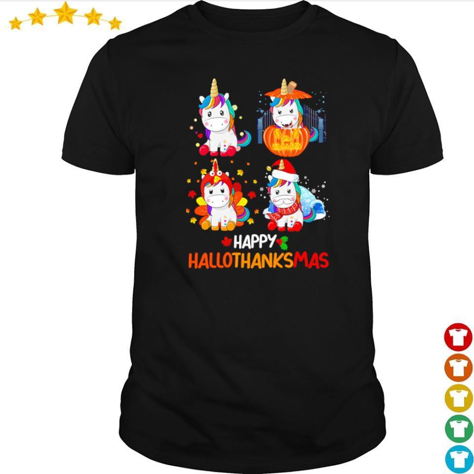 Cute unicorn happy hallothanksmas shirt