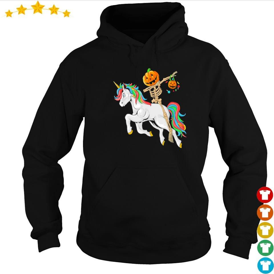 Dabbing pumpkin skeleton riding unicorn s hoodie