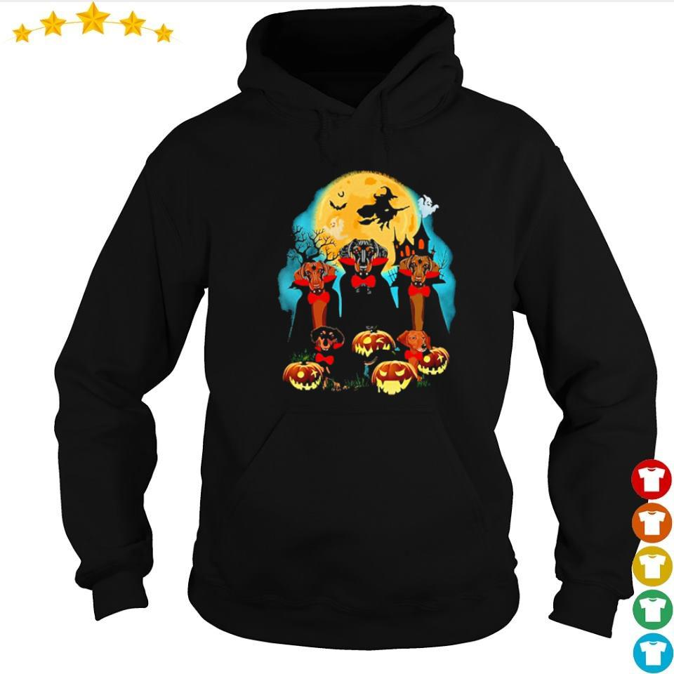 Daschhund dracula pumpkin moonlight happy Halloween s hoodie