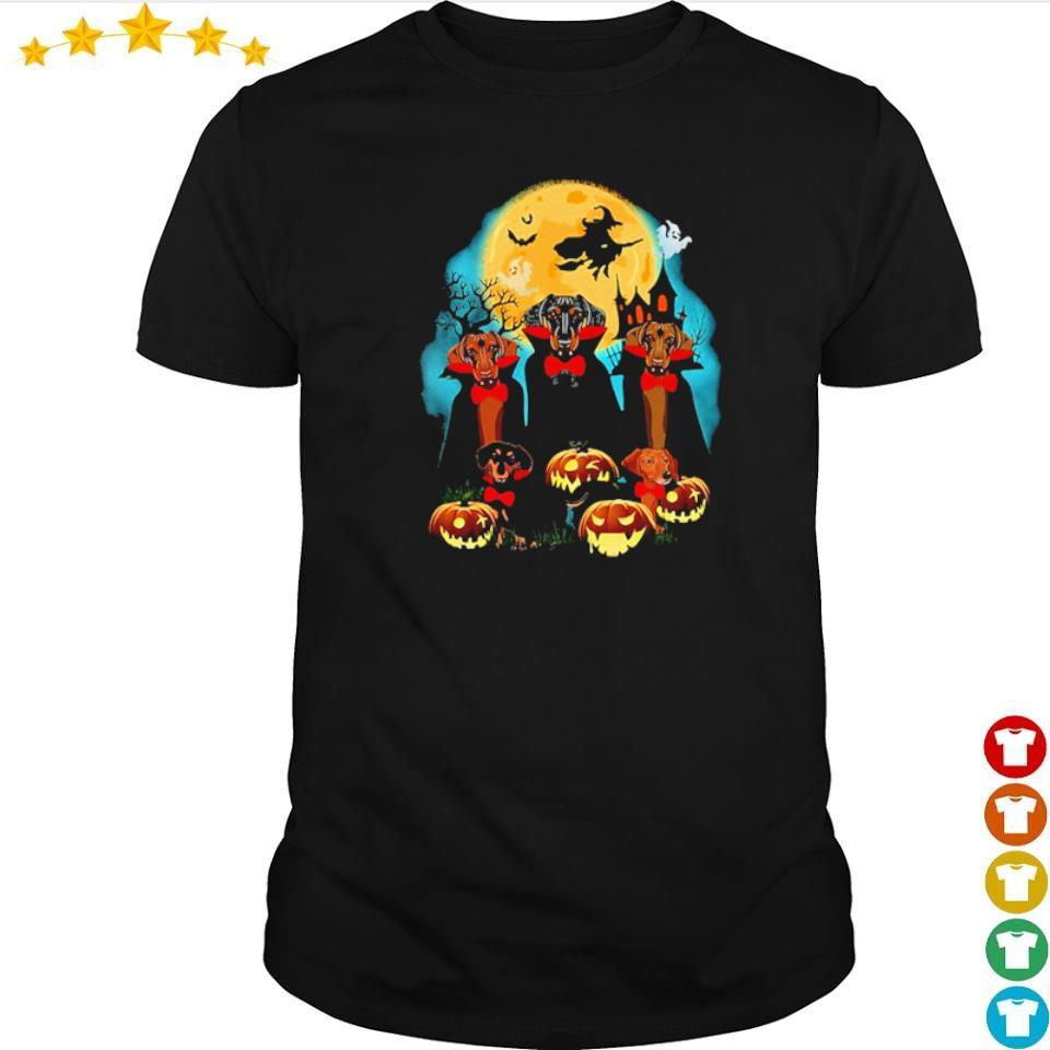 Daschhund dracula pumpkin moonlight happy Halloween shirt