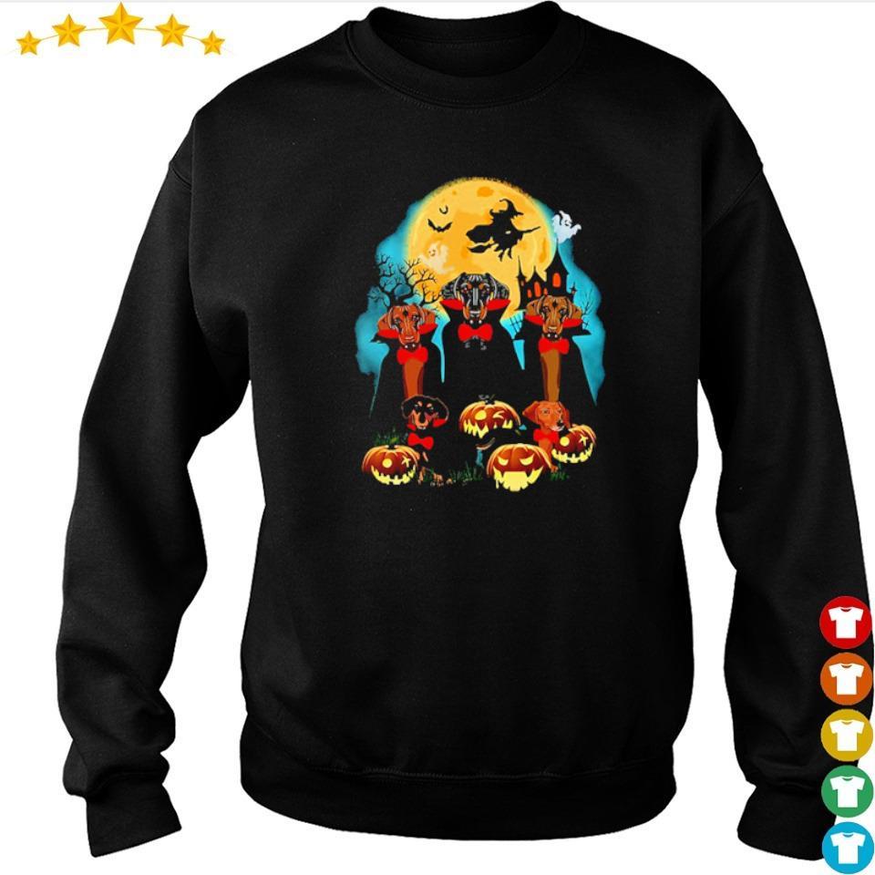 Daschhund dracula pumpkin moonlight happy Halloween s sweater