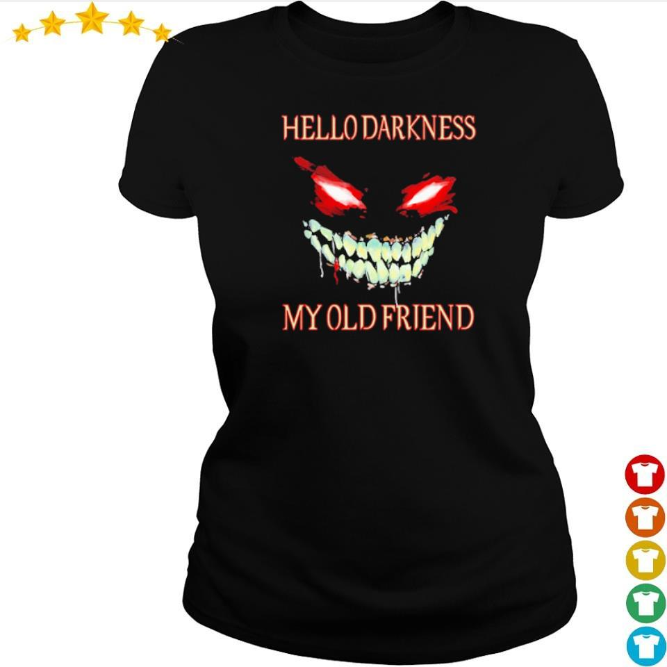 Evil Face hello darkness my old friend Halloween s ladies tee