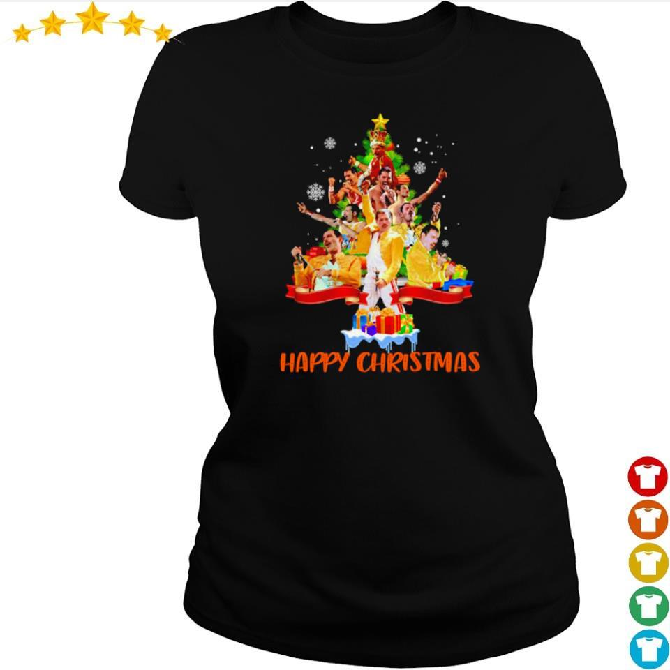 Freddie Mercury happy Christmas tree s ladies tee