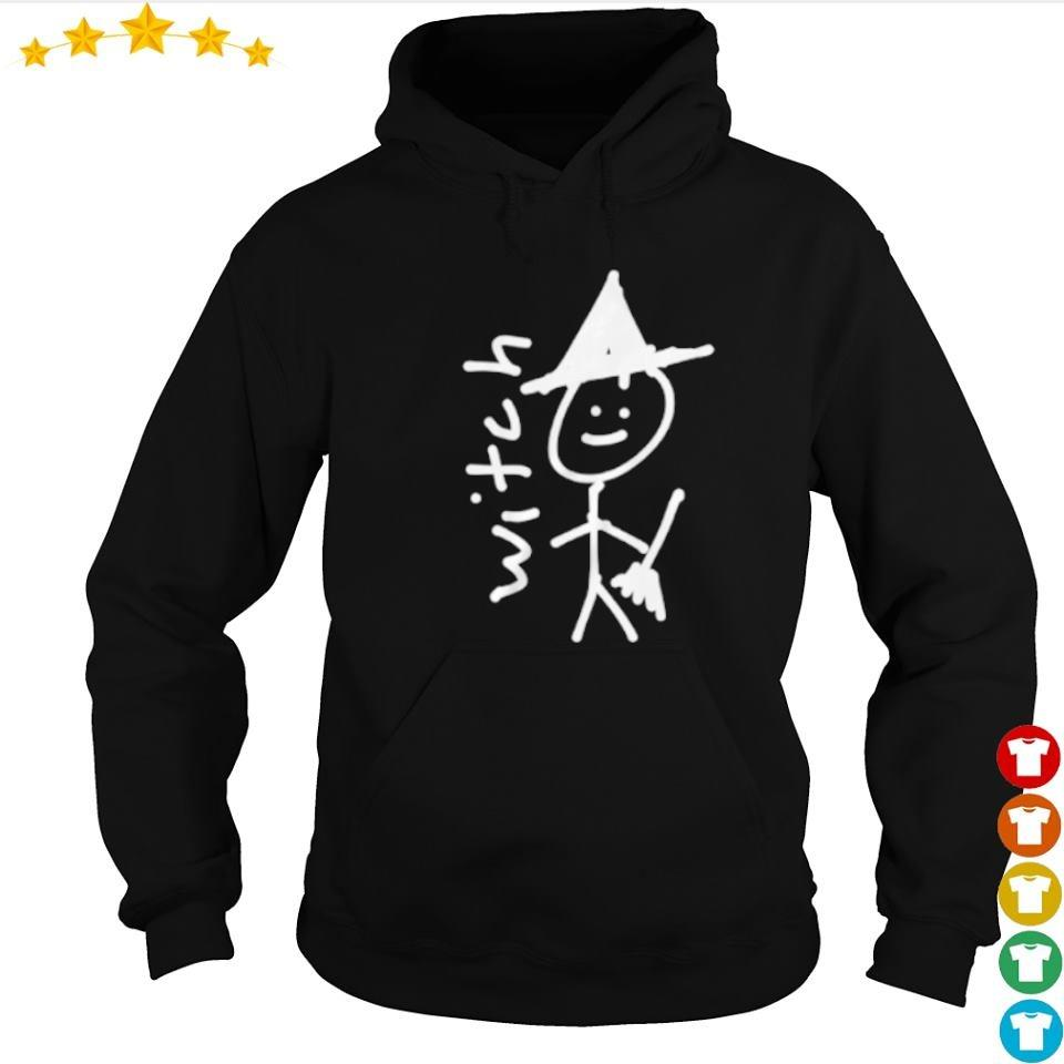 Funny drawing witch happy Halloween s hoodie