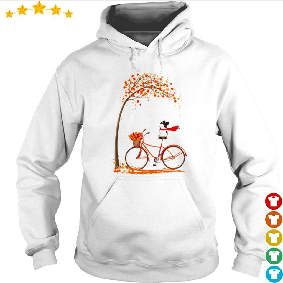Happy Frenchie dog riding bike Autumn s hoodie
