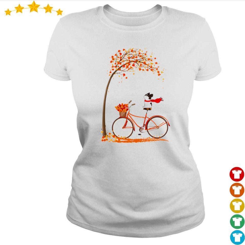 Happy Frenchie dog riding bike Autumn s ladies