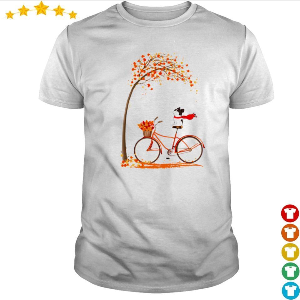 Happy Frenchie dog riding bike Autumn shirt