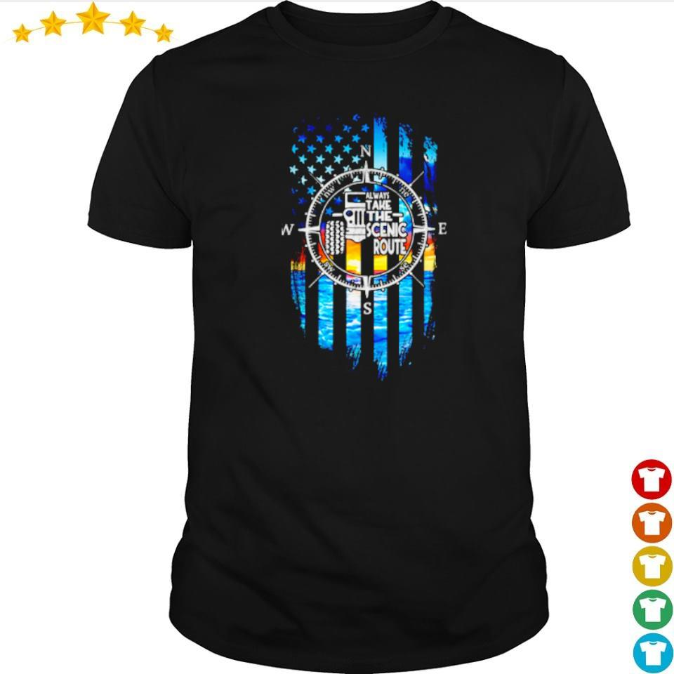 Jeep American Flag always take the scenic route shirt
