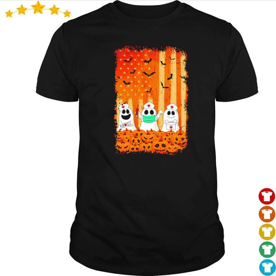 Nurse ghost American Flag happy Halloween shirt
