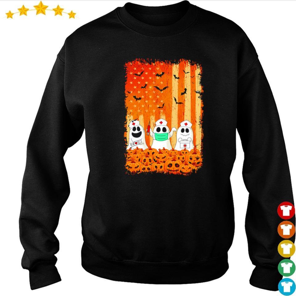 Nurse ghost American Flag happy Halloween s sweater