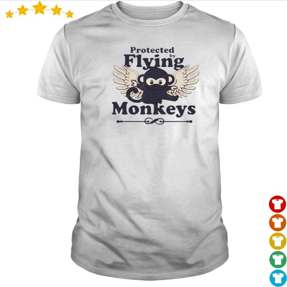 Protected by flying monkeys funny ninja shirt