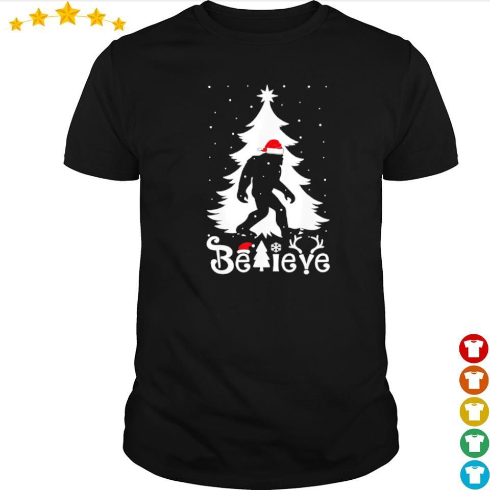 Santa bigfoot believe merry Christmas shirt