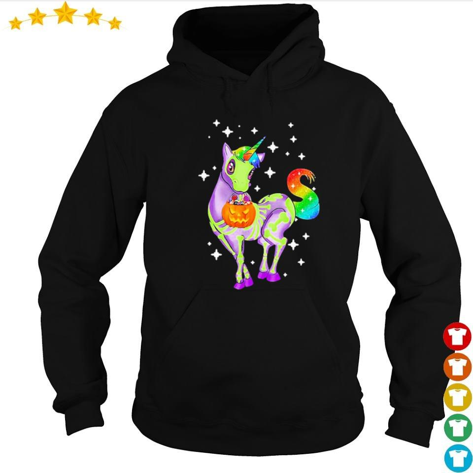 Unicorn skeleton happy Halloween s hoodie