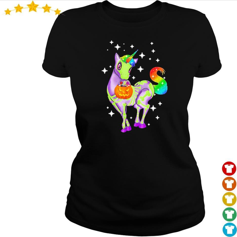 Unicorn skeleton happy Halloween s ladies tee
