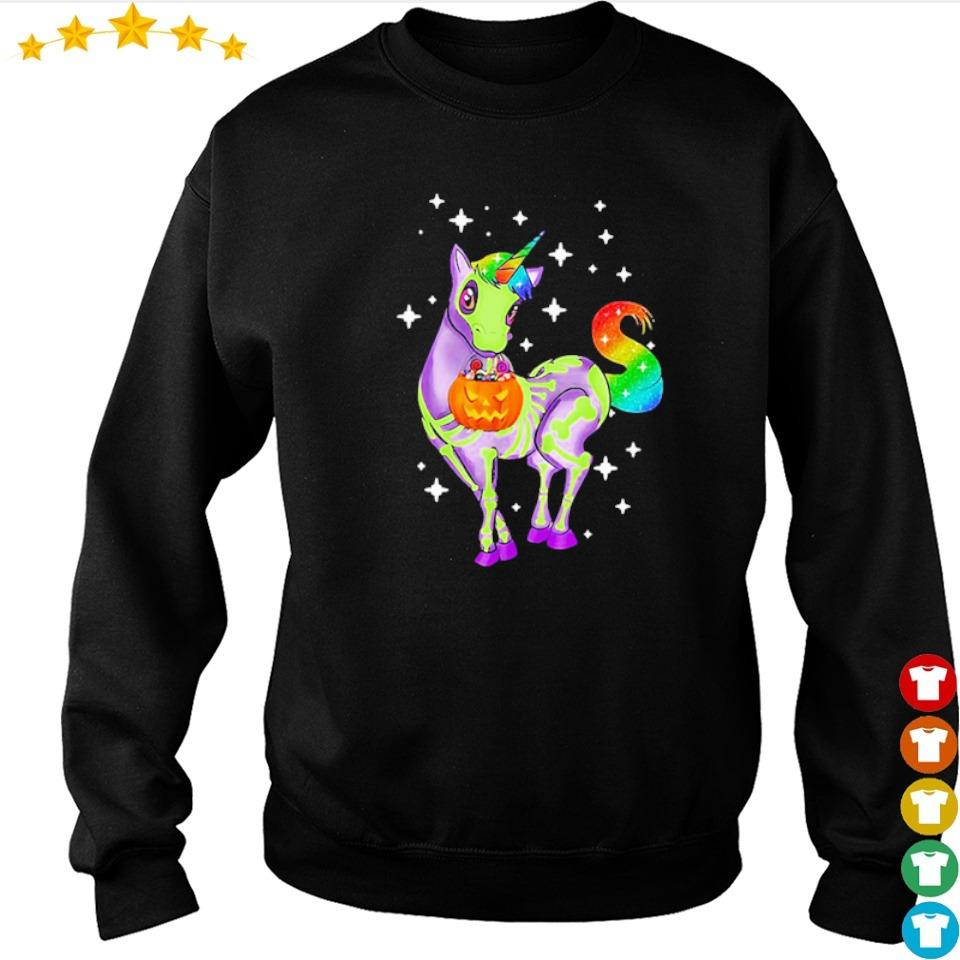 Unicorn skeleton happy Halloween s sweater