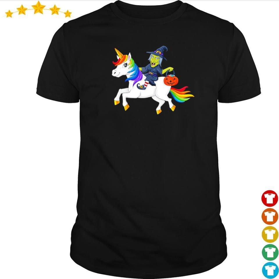 Witch riding unicorn happy Halloween shirt