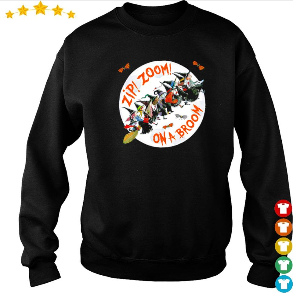 Witch zip zoom on a broom Halloween s sweater