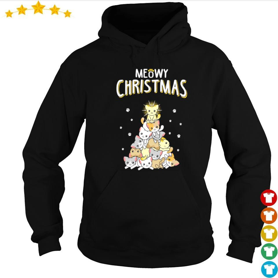 Awesome cat tree meowy Christmas sweater hoodie