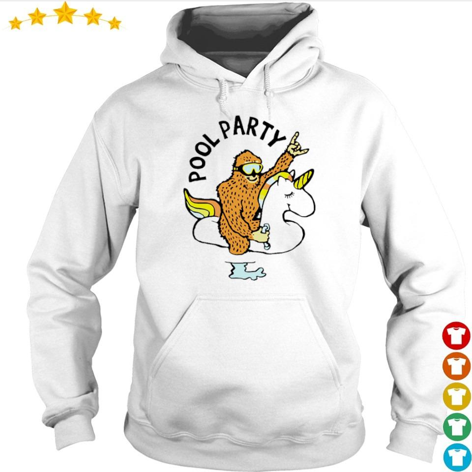 Bigfoot riding unicorn pool party s hoodie