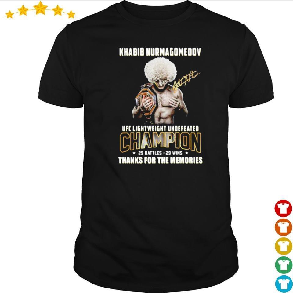 Khabib Nurmagomedov UFC lightweight undefeated champions signature shirt