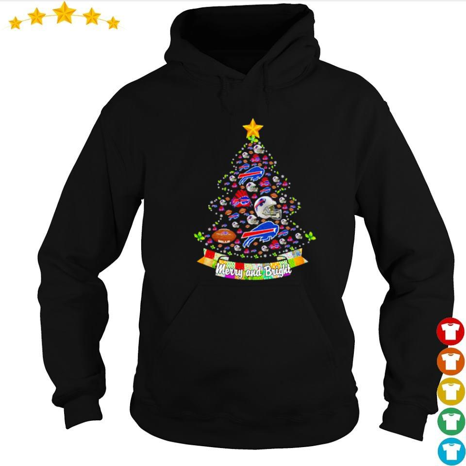 Merry and bright Buffalo Bills NFL Christmas tree sweater hoodie