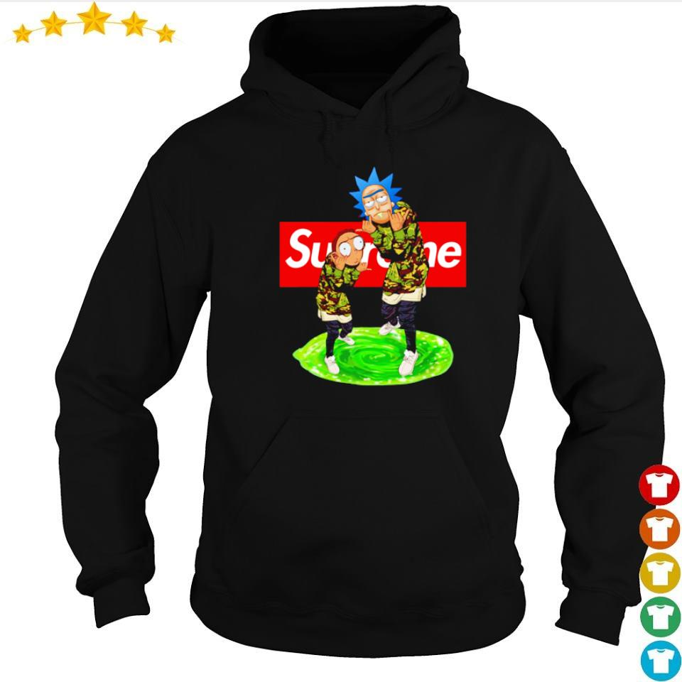 Rick and Morty wearing Supreme clothes s hoodie