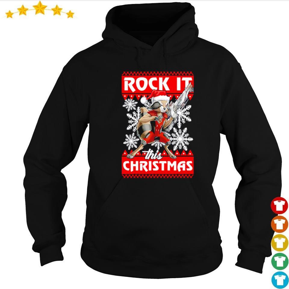 Rocket raccoon rock it this Christmas sweater hoodie
