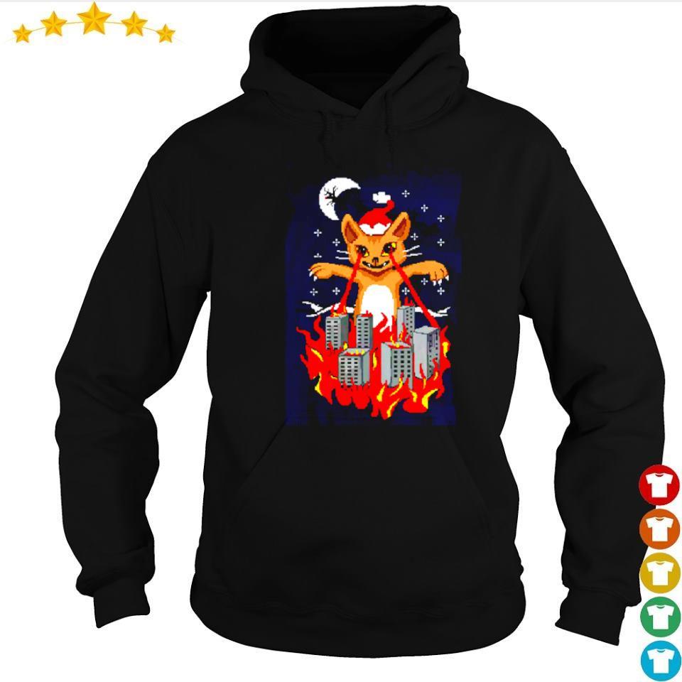 Santa cat destroy city merry Christmas sweater hoodie