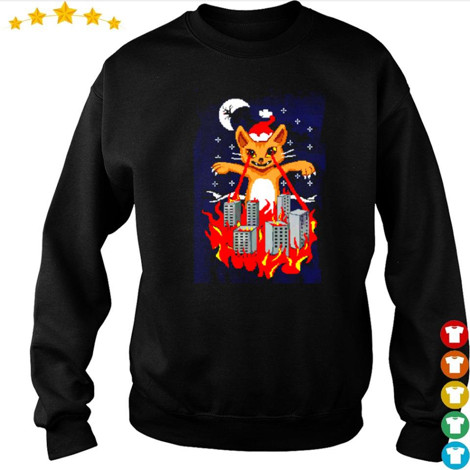Santa cat destroy city merry Christmas sweater