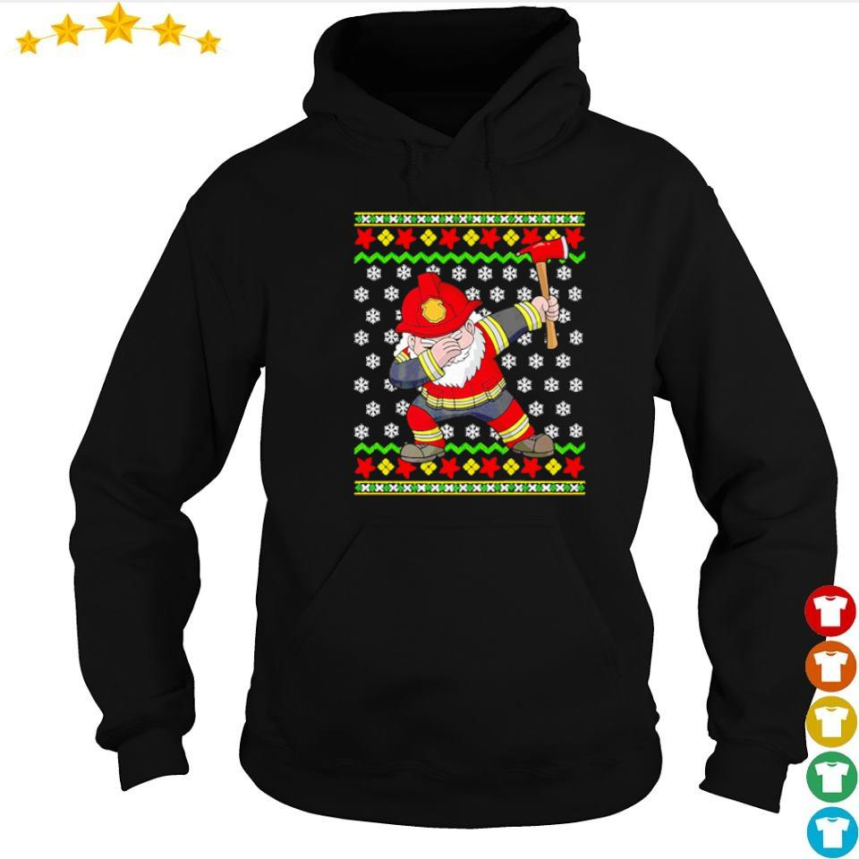Santa firefighter dabbing merry Christmas sweater hoodie