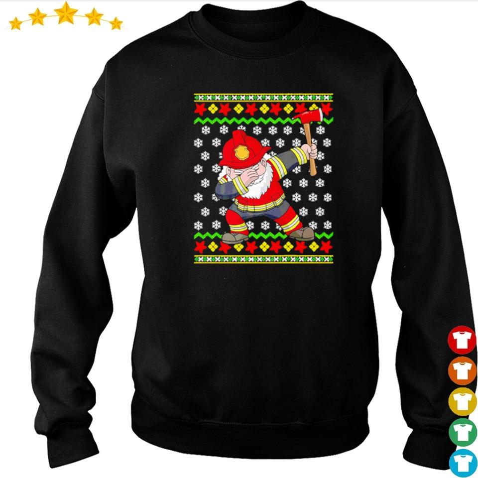 Santa firefighter dabbing merry Christmas sweater